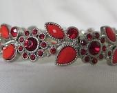 Unique Red Rhinestone Bracelet