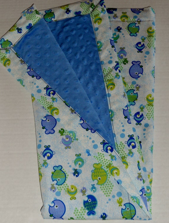 Sweet Little Fishes Minky Baby to Toddler Blanket