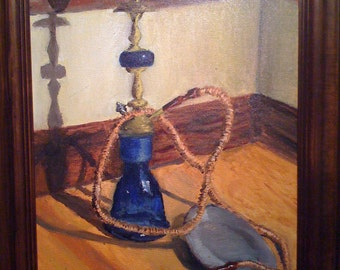 Oil Painting : Still Life of a Hookah - Original Oil Painting by Jeddin White