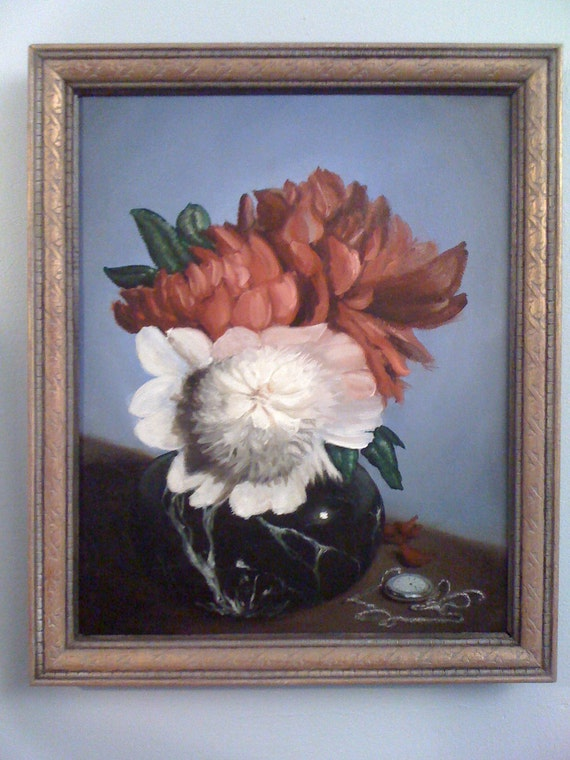 Still Life Oil Painting : Late Peonies - Original Floral Painting by Jeddin White