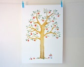 SALE: Summer apple tree print. watercolour and collage nursery print.