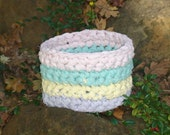 Pastel Crocheted Fabric Bowl