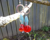 Blue and Reddish Orange dangle earrings
