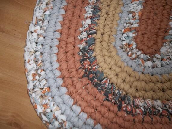 Shades of Tans and Greys Crocheted Rag Rug