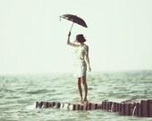 Vintage Photography Print of Girl on Lake