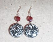 Black and White Pottery Disc Earrings With Red Vintage Swarovski Crystal Accent Beads