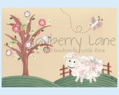 Nursery Wall Art - Baby Girl Room Decor - Adorable Lamb - 8x10 print