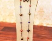 Goldstone, Wood Beads, Burnt Orange, Blue, Copper, Necklace, Earrings, Bracelet, Jewelry Set, Beaded Jewelry, Hoop Earrings