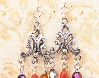 Goldstone, Brown, Chandelier, Silver Earrings, Chandelier Earrings, Beaded Earrings
