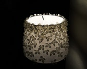 Floral lamp shade with white hydrangea decor - 100% handcrafted