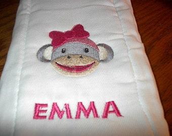 Personalized Girl Sock Monkey Burp Cloth Diaper