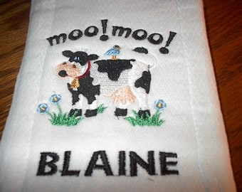 Personalized Moo Cow Burp Cloth Diaper