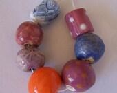 Contemporary African beads, ceramic bead set