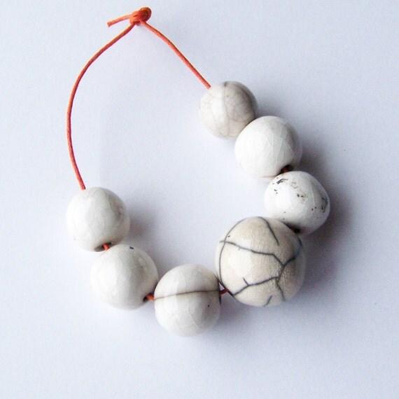 Raku beads, handmade in South Africa, white