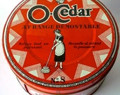 BIG Red/Orange Vintage O-Cedar Round Tin in FRENCH