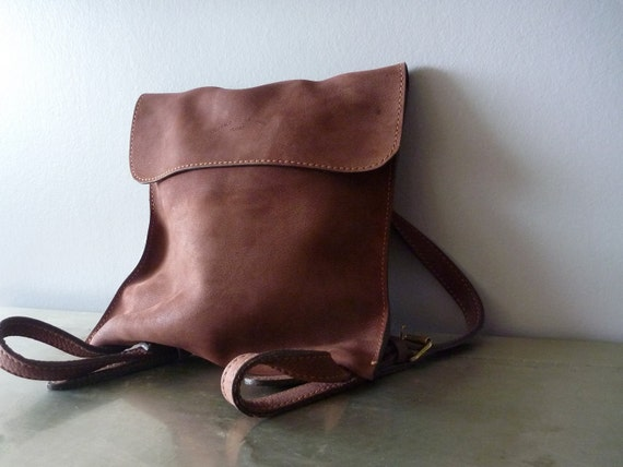 Cocoa nubuck leather Charles et Charlus FRANCE bag, vintage