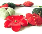 Adjustable fabric flower necklace red green  felt copper button beads - OOAK handmade - ready to ship
