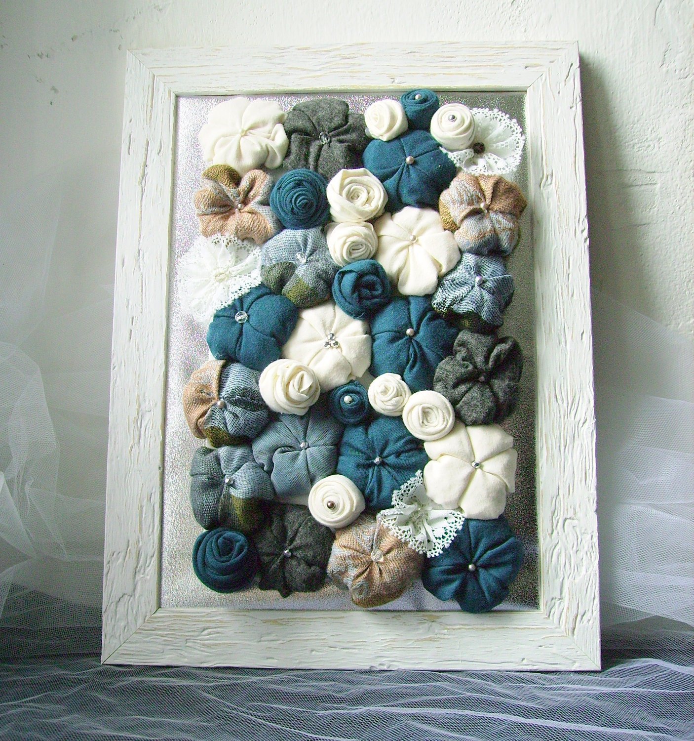 Fabric flower art shabby chic framed 3d design home decor for Fabric wall art