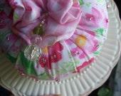 Pincushion, Pink, Floral, Fabric, Decorative, Stoneware Plate, Pin Keep, OFG Team