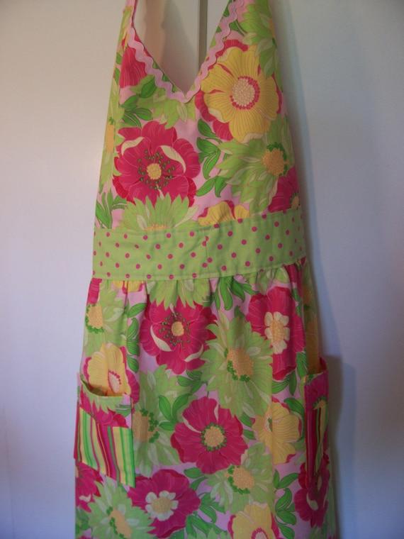 Sale, Full, Apron, Womens, Floral, Green, Pink, Polka Dots,  Pockets, Handmade