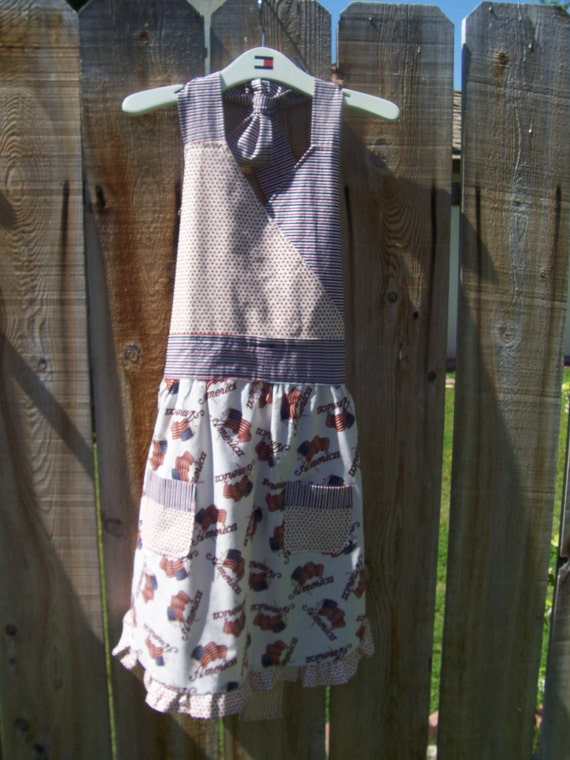 Sale, Apron, Womens, Full, Americana, Red, White, Blue, Flag, Pockets, OFG Team, Sale