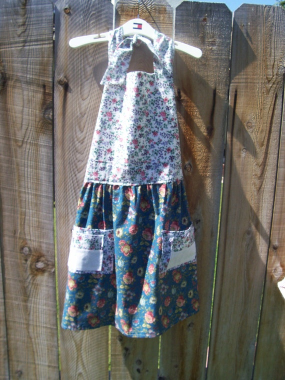 Apron, Womens, Full, Teal, Floral, Two Pockets, Sundress Top, Sale