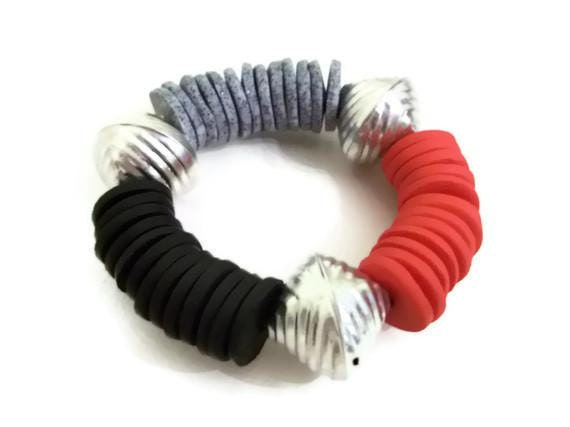 Chunky Disc Bracelet Mixed Media Red Silver and Black