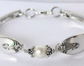 Spoon Bracelet  Ornate Antique Pattern- Exquisite with genuine fresh water pearl- unique silverware jewelry.Med.