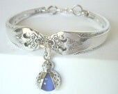 Spoon Bracelet  Ornate Antique Pattern- Lovely Lady With Sterling Silver Lady Bug  Charm- unique silverware jewelry.