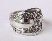 Sterling Silver Spoon Ring Ornate Antique- Chateau Rose --  Made to your size up to size 111/2