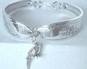 Spoon Bracelet  Ornate Antique Pattern- Queen Bess with sterling silver  Parrot  charm- unique silverware jewelry.