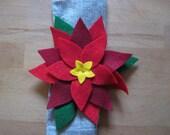 Poinsettia Napkin Ring Set of 6, serviette holders, felt flowers