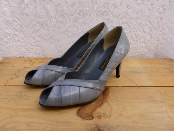 vintage 80's genuine eel skin open toe kitten heel pumps