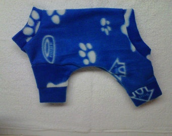 extra small Royal Blue/ white paws, bone, dish and doghouse prints fleece lounge wear