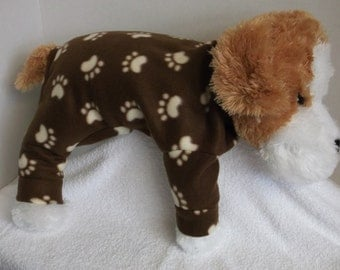 extra small-brown with beige paw prints fleece lounge wear