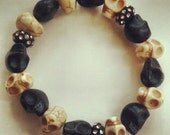 Black and White Day of the Dead Skull Beaded Bracelet with Rhinestone Spacers
