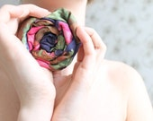 Fabric brooch - Navy blue, pink and green flower brooch rosette - Valentines day gift