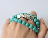 Set of 3 Turquoise beaded bracelets - OCEAN stamped silver bracelet - aqua blue bracelet