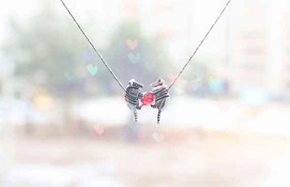 Armadillo couple in love - Gift for him - gifts for dad daddy gifts daddy necklace Red heart necklace Valentines day gift, funny valentine