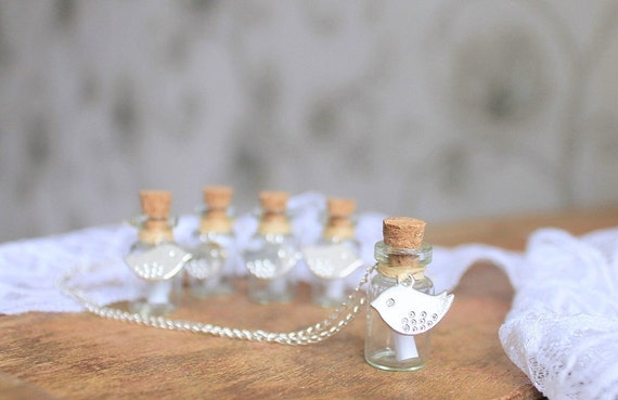 5 secret message bottle with birds  - Personalized bridesmaid gifts - Spring rustic wedding