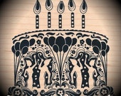 Wood Mounted Rubber Stamp Ornate Birthday Cake