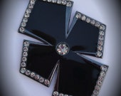 Gunmetal With Black Diamond Crystals Cross Pendant In Black Enamel