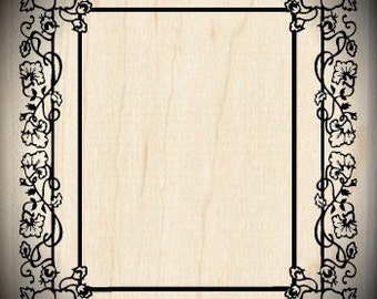 Wood Mounted Rubber Stamp Pansy Frame