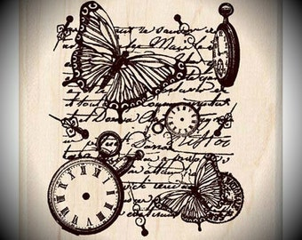 Wood Mounted Rubber Stamp Time Flies Collage