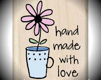 Wood Mounted Rubber Stamp Handmade Flower Mug