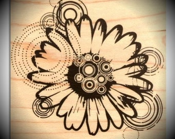 Wood Mounted Rubber Stamp Mod Daisy