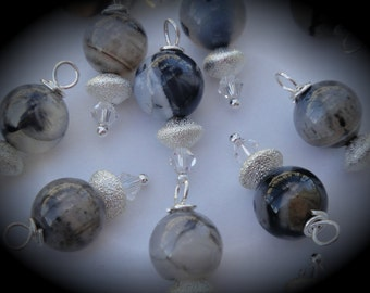 Hand Wire Wrapped Swarovski Crystals Dangle Charms on Silver Plated Ball End Headpin Fire Agate