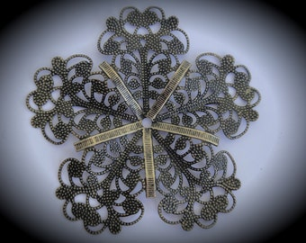 Brass Filigree Flower Pendant