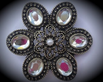 Brass And Pearl Flower Pendant With Crystals
