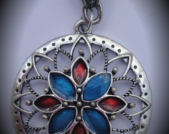 Silver Plated Flower Pendant With Enamel